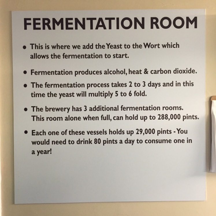 Fermentation room sign at Wadworth Brewery in Wiltshire