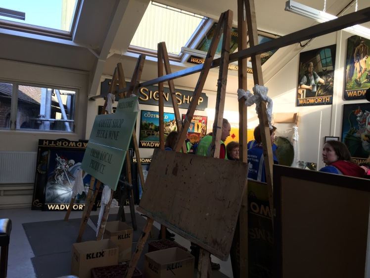 Sign painting workshop at Wadworth Brewery in Wiltshire
